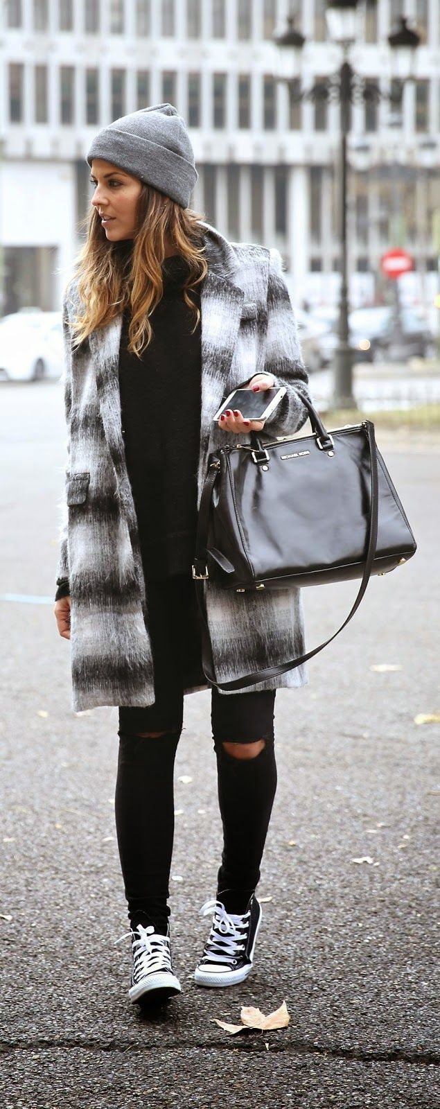Comfy Plaid Coat , Ripped Skinnies , Converseve Sneakers For more women's fashion follow @ashmckni