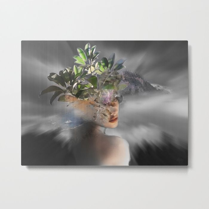 """Our metal prints are thin, lightweight and durable 1/16"""" aluminum sheet canvas. The high gloss finish enhances color and produces sharp image details. Each sheet has a 3/4"""" wooden frame attached to the back to offset from the wall. Prints have a wire or sawtooth hanger, depending on size selected.  #art  #metalprints  #prints  #goddess  #society6  #portraitart   #surrealism #travel  #escape"""