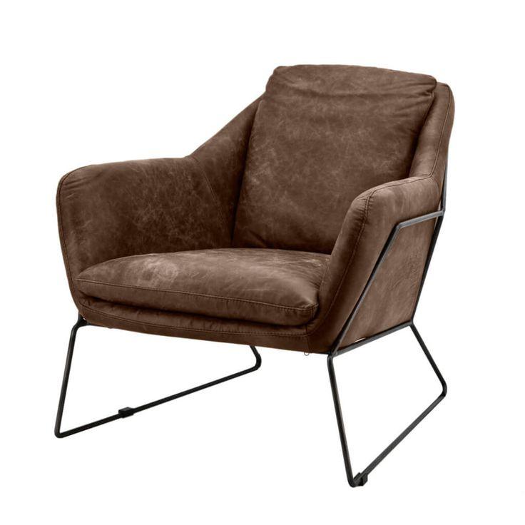 Stoere retro industriele fauteuil Antonio in vintage leer Mokana