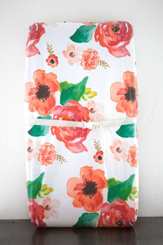 Changing Pad Cover in White Floral, Baby Girl Bedding, Whimsical Nursery, Cottage Chic, Vintage Baby Bedding, Organic
