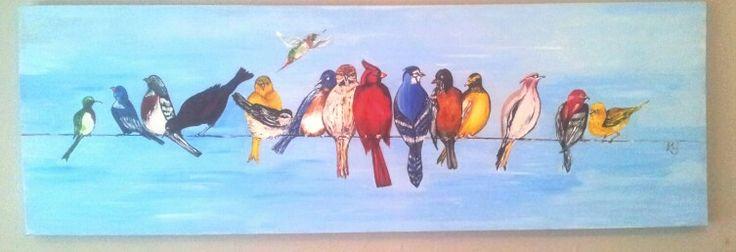 Birds on a wire. Original acrylic on canvas board. Orders taken