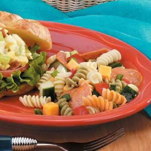 Pepperoni Pasta Salad ~ Bottled Italian dressing and pepperoni add zip to this colorful combination...Serve it right away or assemble it ahead of time. The longer this salad chills the better!