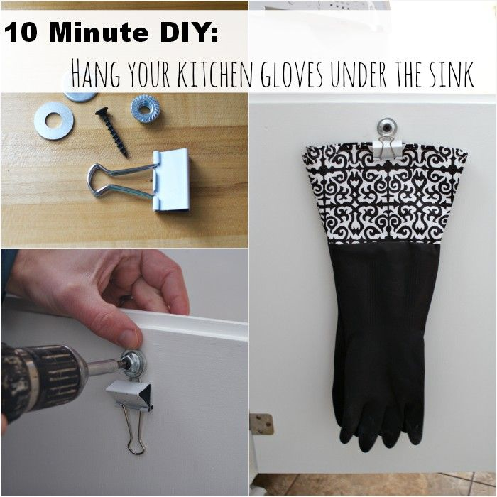 Easy storage idea, hang your kitchen gloves on a binder clip. #organization  Fifty Two Weekends (...of DIY)