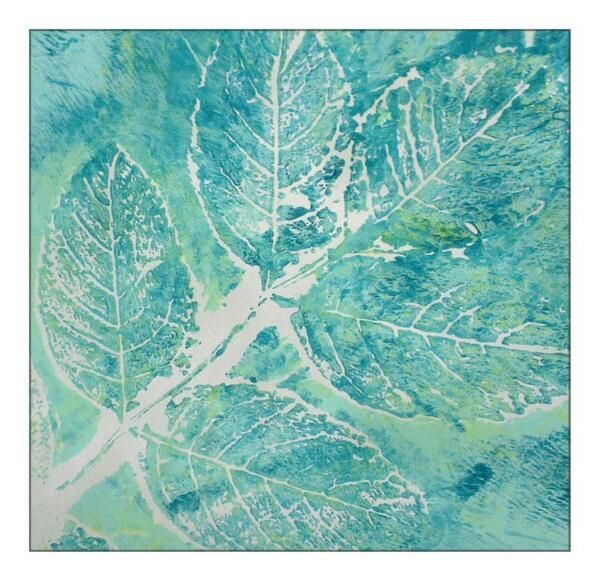 My Favourite, never to be repeated Gelli Print with leaves @Angela Martinez Arts®