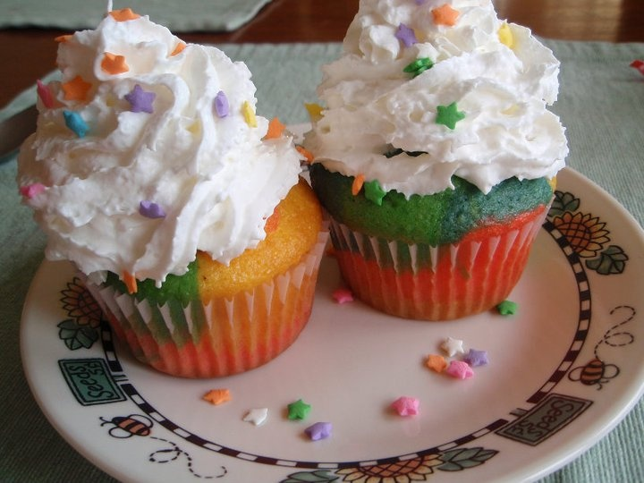 My personal homemade tie-dye cupcakes, complete with whipped cream and sprinkles! Delicious!!