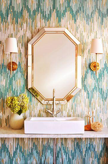 This jeweled backsplash is too cool // Statement Bathrooms