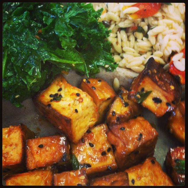 Earth Fare restaurant Knoxville TN- Kimchi Tofu, Sesame Kale, Orzo salad...AMAZING!!