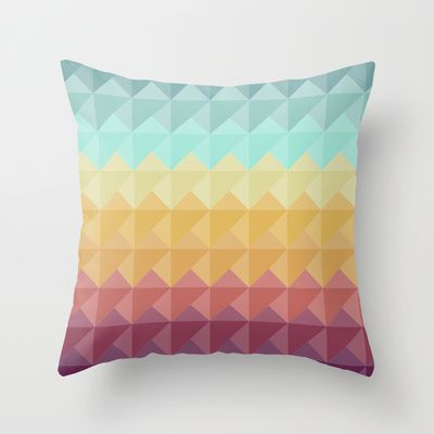 Retro Triangles Throw Pillow by Refreshdesign