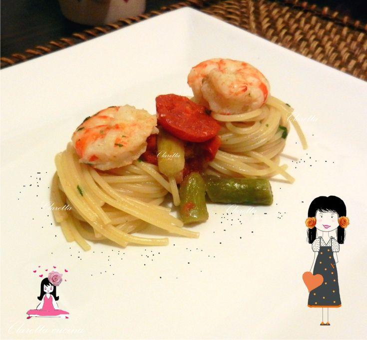 Spaghetti con asparagi e mazzancolle, Ricetta primo piatto