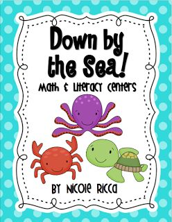 Mrs. Ricca's Kindergarten: Down by the Sea Centers + FREEBIE  SUPER SUPER CUTE, relevant, and matches my room theme!
