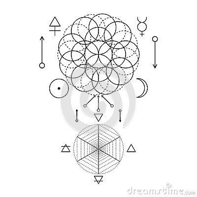 Símbolo de la alquimia y de la geometría sagrada Tres prepara: alcohol, alma, cuerpo y 4 elementos básicos: Tierra, agua, aire, f