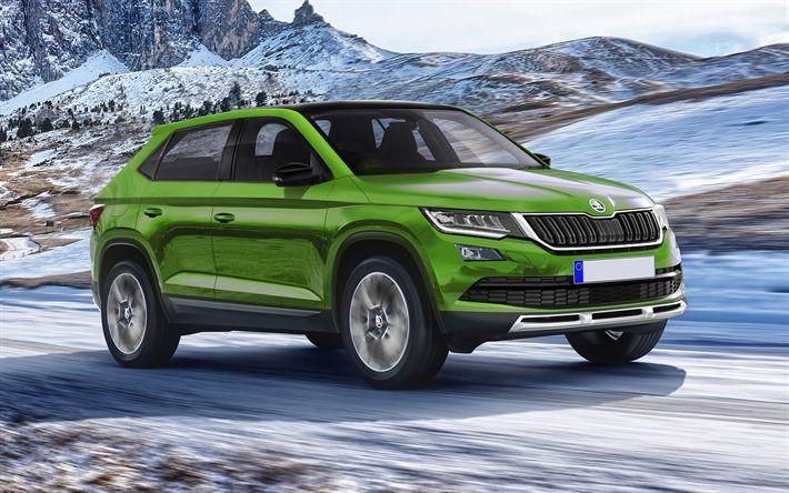 Download wallpapers Skoda Fabia SUV, 4k, crossovers, 2018 cars, road, Skoda