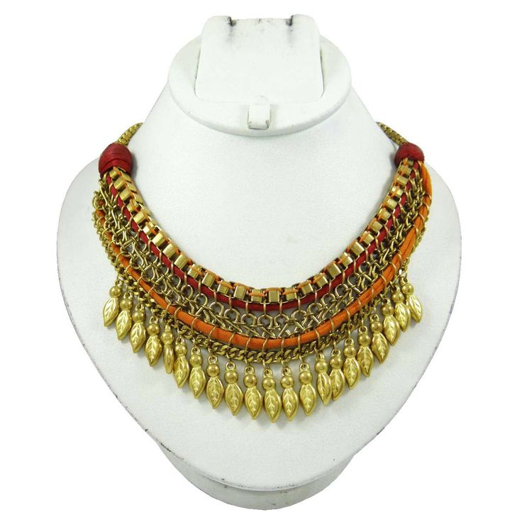 This is a beautiful tribal gold tone necklace which will adds more charms to your fashion jewelry collection.  ..this is img