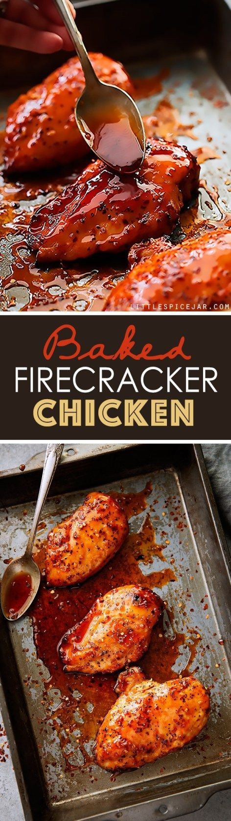 Baked Firecracker Chicken - A quick and easy weeknight dinner recipe! Learn how to make dynamite firecracker sauce. Serve with rice.