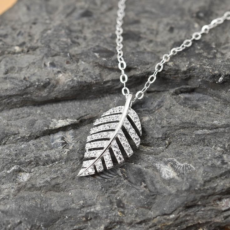 Leaf Necklace, Leaf Pendant Jewelry, 925 Sterling Silver, Crystal Necklace Pendant, Bridesmaid Gift, Bridesmaid Necklace by JubileJewel on Etsy