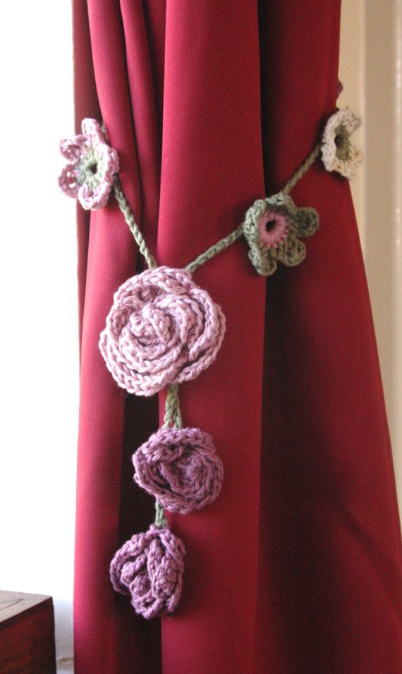 Crochet Hand made curtain tie backs - made to order - choose your colours - 100% cotton yarn