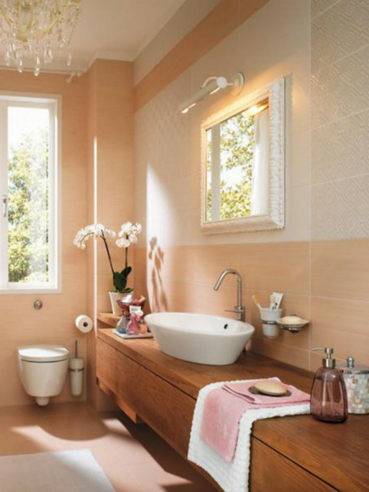 Bathroom, Peach Feminine Bathroom Decora With Nice Tiles Design With White  Sink On Wooden Table And Sanitaryware With Lamp: Striking Design .