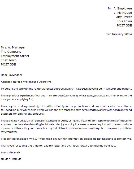Warehouse Operative Cover Letter Example  icoverorguk