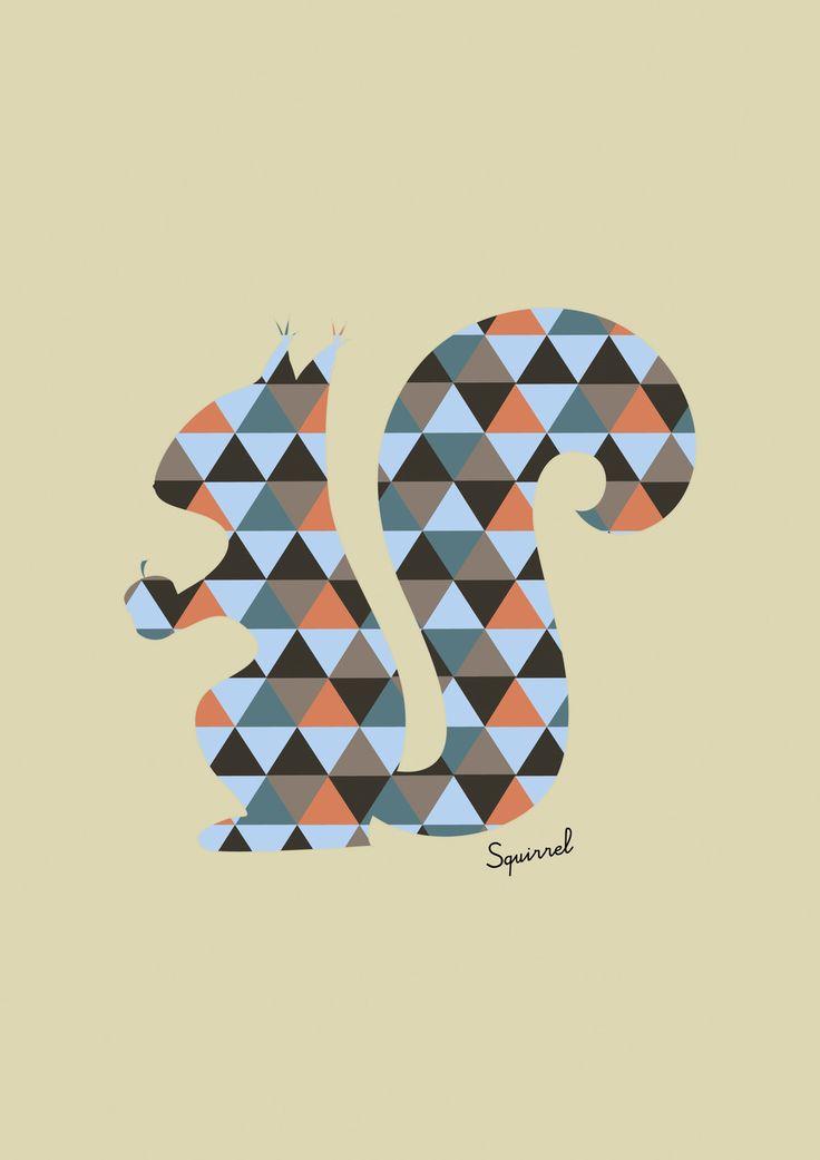 Ecureuil forme géométrique style scandinave : Affiches, illustrations, posters par rgb