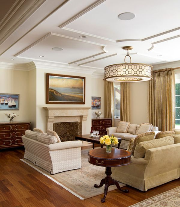 Lighting and Ceilings - Living room with graceful and understated ceiling and lovely soothing warm neutral tones