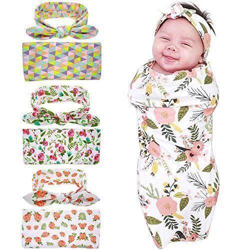 8d73e5b5cc79 Newborn Baby Swaddle Blanket and Headband Value SetReceiving ...
