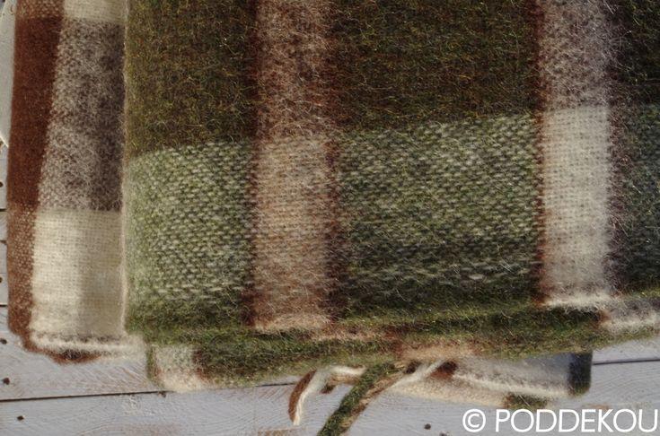 Deka z alpaky hnedo-zelená károvaná   PODDEKOU