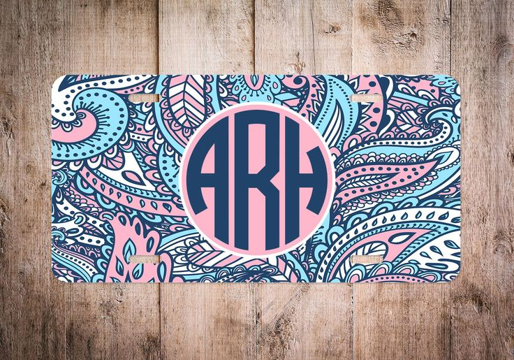 Monogrammed License Plate, Retro Floral Monogram License Plate, Personalized License Plate, Paisley License Plate, Custom License Plate by Silverngeauxld on Etsy https://www.etsy.com/listing/288615337/monogrammed-license-plate-retro-floral