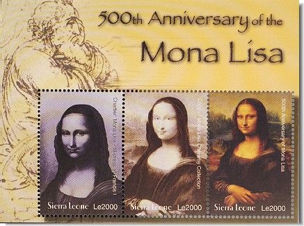 [SIERRA LEONE] - 500th Anniversary of Leonardo da Vinci painting of Mona Lisa one of the greatest Paintings in Art of all time Called La Gioconda or Light Hatred Woman -