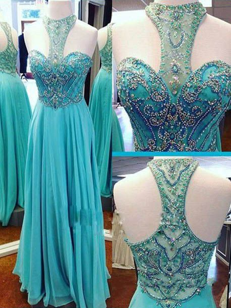 Blue Chiffon Prom Dresses,Beaded Prom Dresses,A-line Prom Dresses,Long Chiffon Prom Dresses,Chiffon Party Dress,Beaded Prom Dresses,Beaded Chiffon Party Dresses,Chiffon Homecoming Dresses,Beaded Graduation Dresses