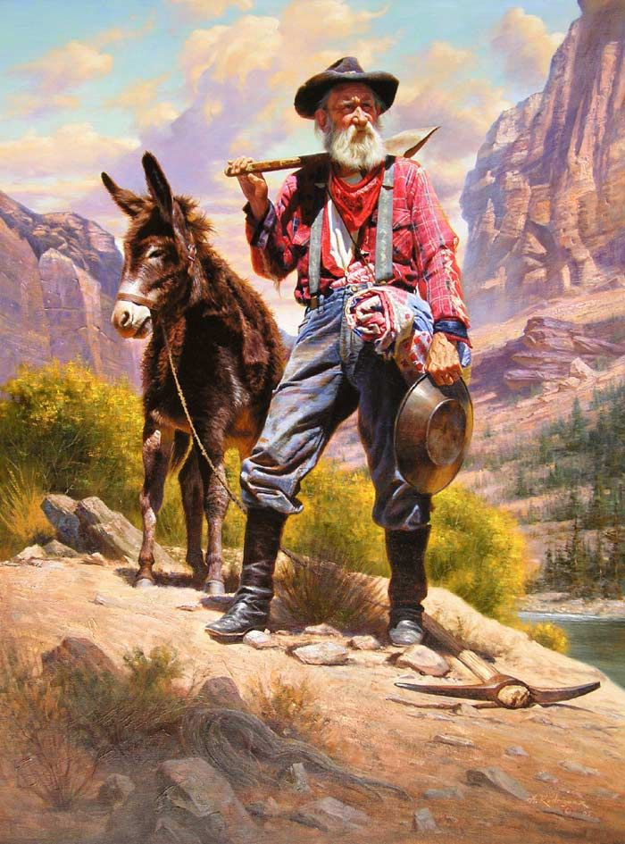 "western paintings | The Old Prospector"" by Alfredo Rodríguez"