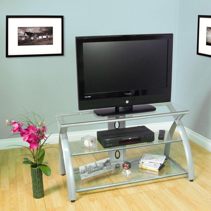 Calico Designs Futura 42 In. Wide X 19 In. Deep X 22.5 In. High TV Stand  (Black/Black Glass)