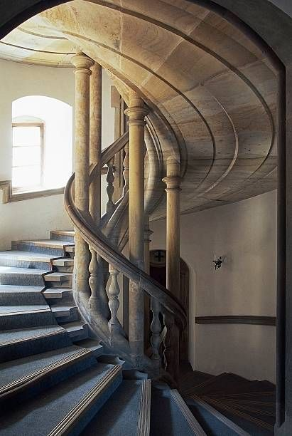 Spiral staircase, Bouzov Castle (14th century), Czech Republic