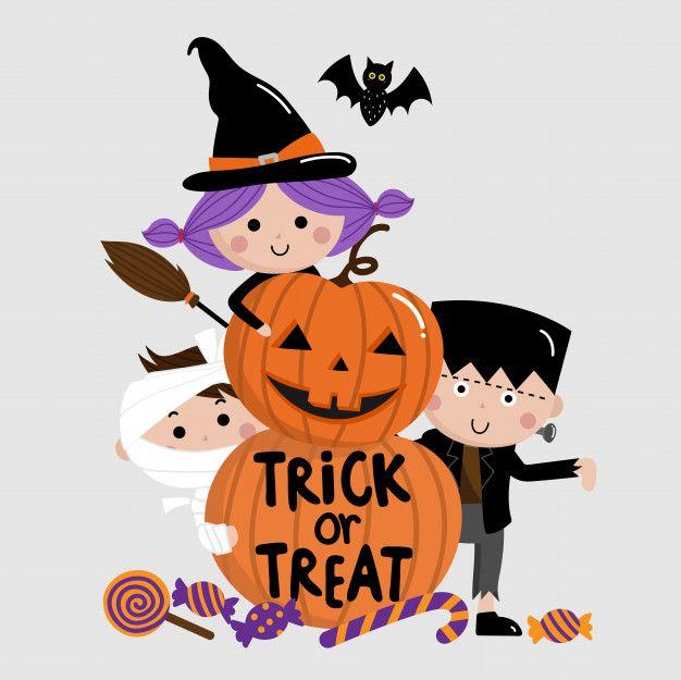 Halloween Trick Or Treat Kids And Pumpkin Halloween Greetings Halloween Kids Halloween Hacks