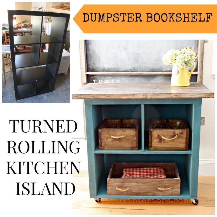 s 19 incredible kitchen islands made from totally unexpected things kitchen design kitchen island repurposing upcycling ikea bookshelf turned rolling