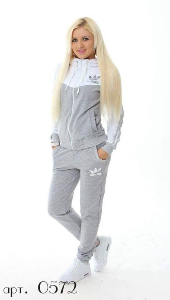Tracksuit sports wear gray , withe top and sleeves , front zip and hoodie