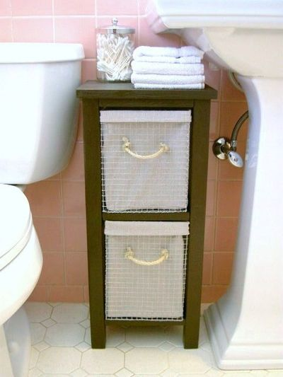 Oh yeah, I have the same space!!!  No wicker or fabric drawers for a water proof aspect. Easy to clean too.