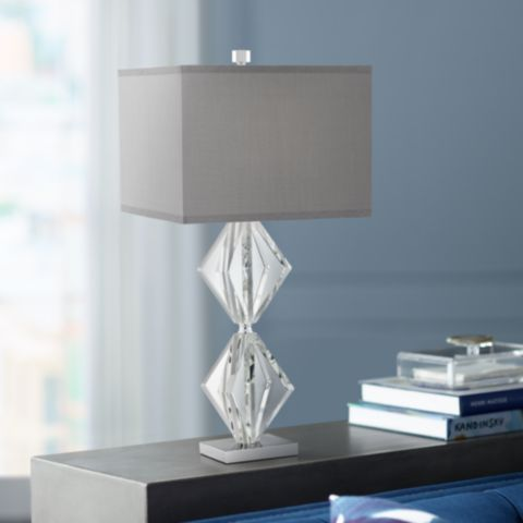 Eileen Crystal Table Lamp with Gray Shade #53X39 | Lamps