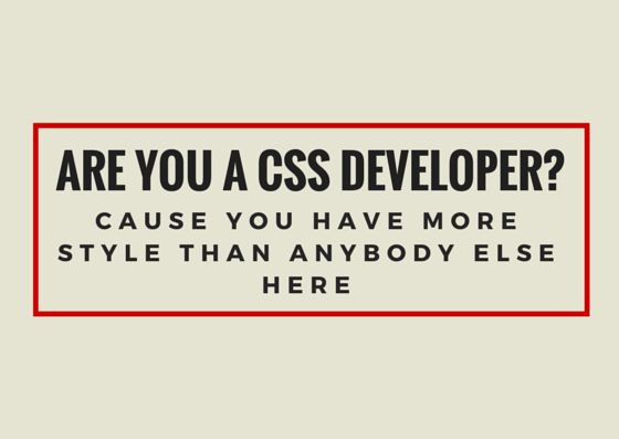 Are you a CSS developer? Cause you have more style than anybody else here