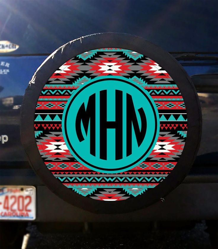 Tire Cover Jeep Tire Cover Spare Tire Cover Custom Aztec Tire Cover Monogrammed Spare Tire Cover Tribal Jeep Wrangler Tire Cover Accessories by ChicMonogram on Etsy