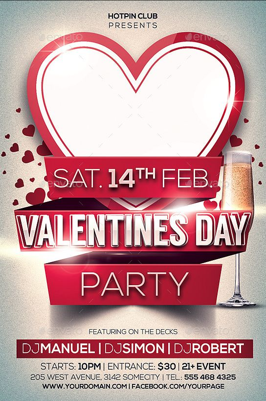 Valentines Day Club Party Flyer Templates http://www.thedesignwall.com/20-best-valentines-day-flyer-templates/