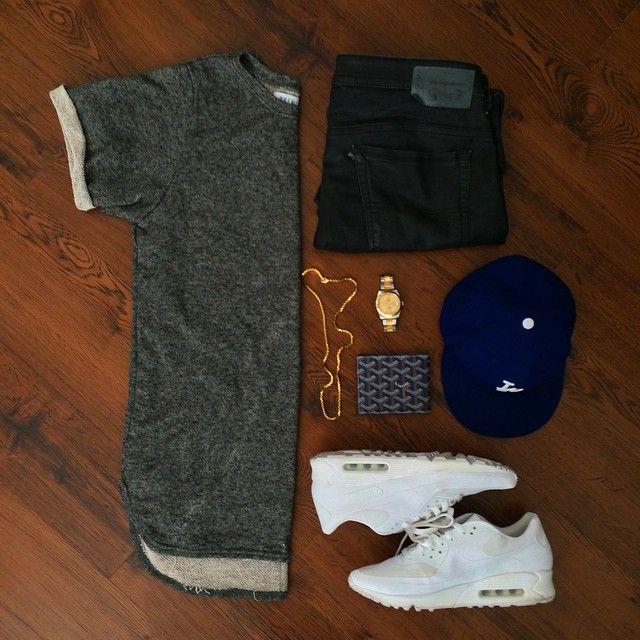 Shirt: PremiumCo Big Loop Terry Tee Waxed Denim: Diesel Kicks: Air Max 90 USA Pack Watch: Rolex Datejust II Wallet: Goyard Chain: Versace Cap: New Era LA Dodgers