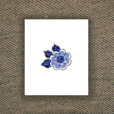SHIP FROM NY - Temporary Tattoo - Set of 2 Delft Blue Flowers