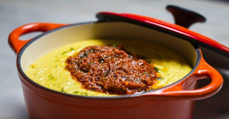 polenta mole com ragu à bolonhesa