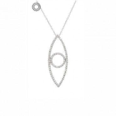 Μοντέρνο λευκόχρυσο κολιέ Κ18 με κρεμαστό κάθετο κενό μάτι περιμετρικά δεμένο με διαμάντια και αλυσίδα | Κοσμήματα ΤΣΑΛΔΑΡΗΣ στο Χαλάνδρι #ματι #διαμαντια #λευκοχρυσο #κολιε