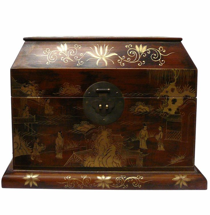 Chinese Light Brown Lacquer Golden Scenery Chest Box cs1050S