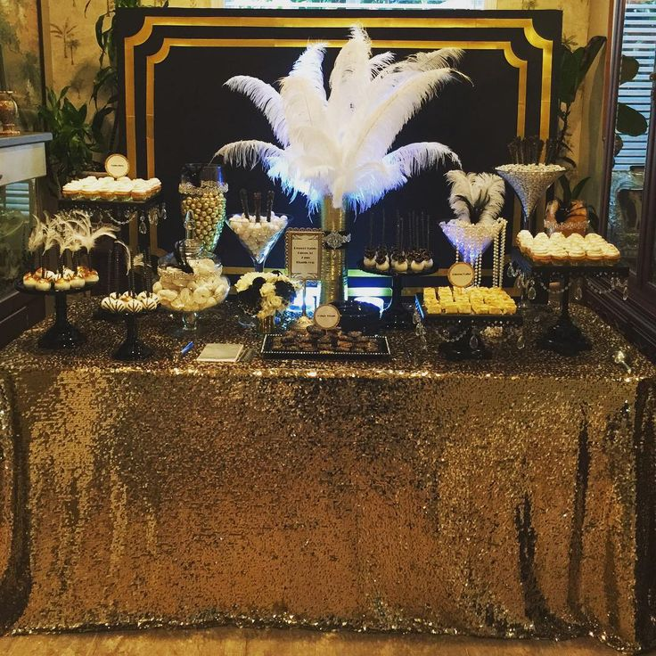 """61 Likes, 11 Comments - Bizzie Bee Creations By Iris (@bizziebeecreations) on Instagram: """"Great Gatsby Wedding Dessert/Candy Buffet Table by Bizzie Bee Creations #greatgatsbywedding…"""""""