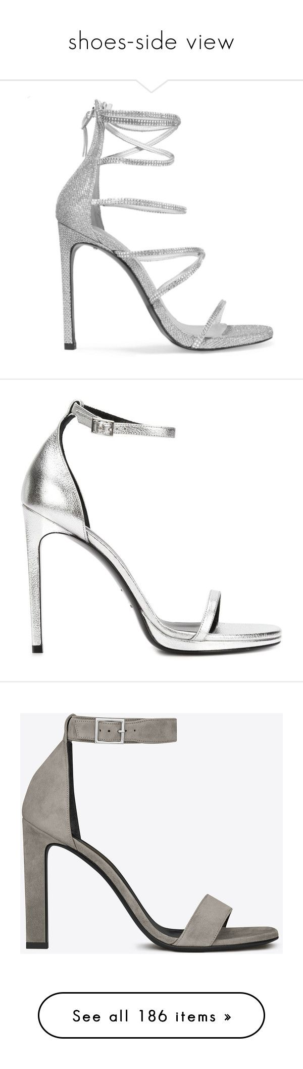"""""""shoes-side view"""" by eva-jez ❤ liked on Polyvore featuring shoes, sandals, heels, galaxy shoes, elastic sandals, mesh sandals, strappy high heel sandals, stuart weitzman shoes, grey and open toe sandals"""