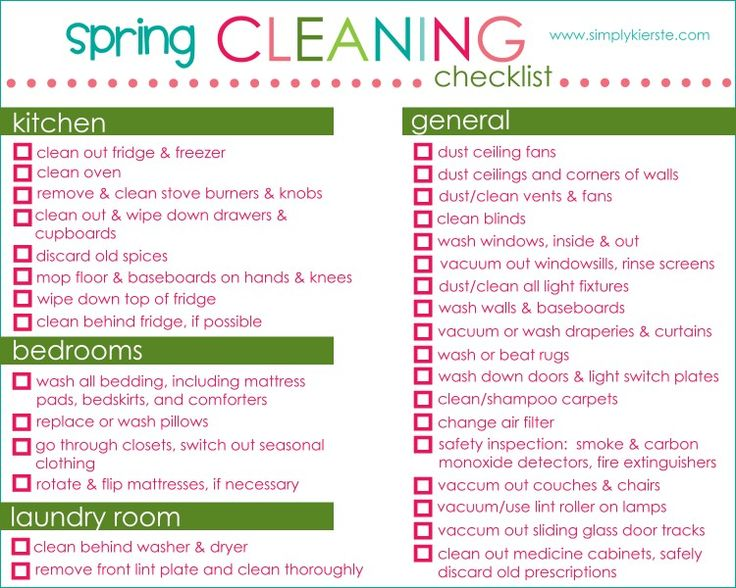 35 best Colorful cleaning checklists images on Pinterest - spring cleaning checklist