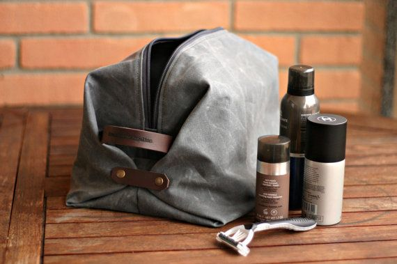 Waxed canvas Toiletry bag mens toiletry by Creazionidiangelina