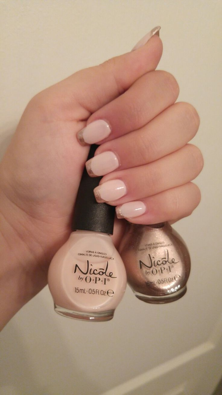 Beautiful light pink base with rose gold tips using Nicole by OPI in Do Good...Feel Good (light pink) and It Starts With Me (rose gold)